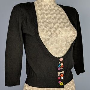 Delia's cardigan eclectic button sweater black